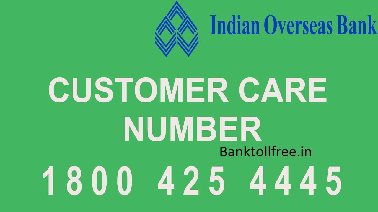 IOB customer care toll free number